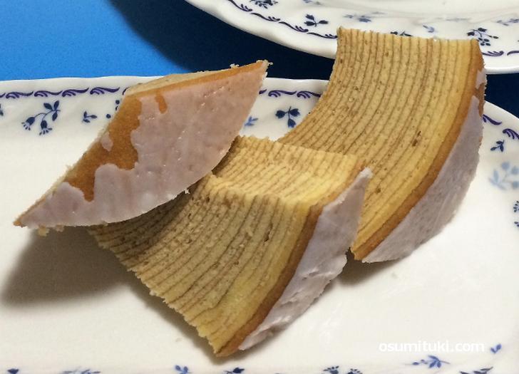 バウムクーヘンが美味しくなる切り方「神戸切り」