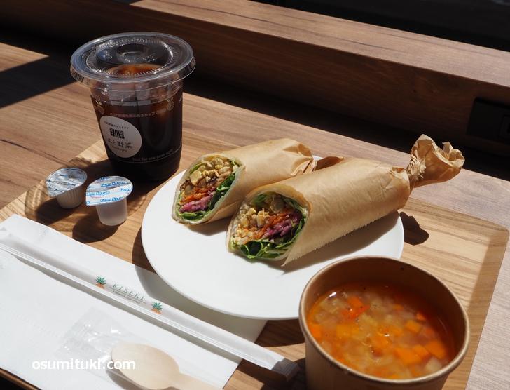 野菜を食べるためのラップセット(600円)モーニング+スープ(200円)