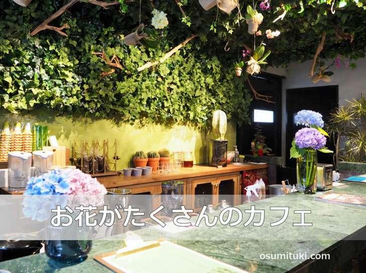 カフェ部分もお花に囲まれていて彩り豊かな店内
