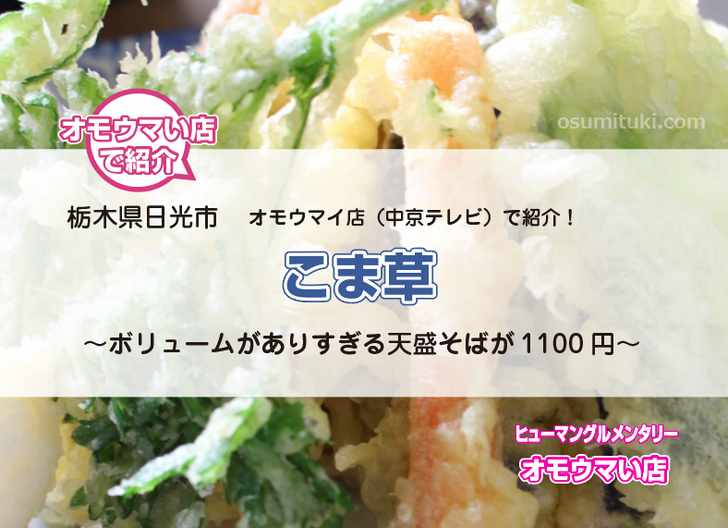 こま草(栃木県日光市)デカ盛り天盛り蕎麦【オモウマい店】で紹介