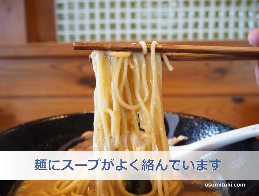 麺は細めのストレートでスープがよく絡みます