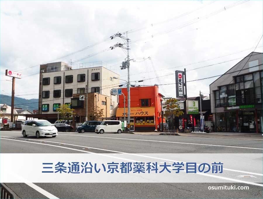 場所は三条通沿い京都薬科大学目の前